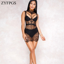 ZYFPGS 2019 Spring Top Women Bodysuit Black Sexy Pattern Lace Womens Jumpsuit Fashion Hollow Personality Sales Red Hot Z1209
