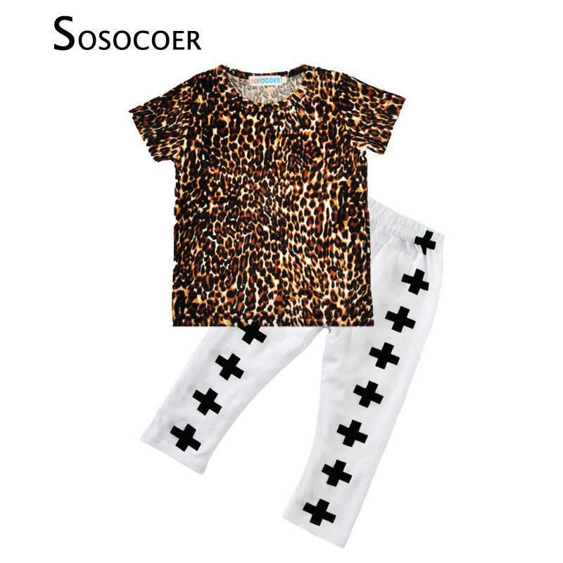 SOSOCOER Baby Clothing Sets 2017 New Summer Leopard T-shirts+Cross Pants 2pcs Kids Clothes Outfits Suit For Boys Girls Costumes 2pcs boys girls set 2016 summer style children clothing sets baby boys girls t shirts shorts pants sports suit kids clothes