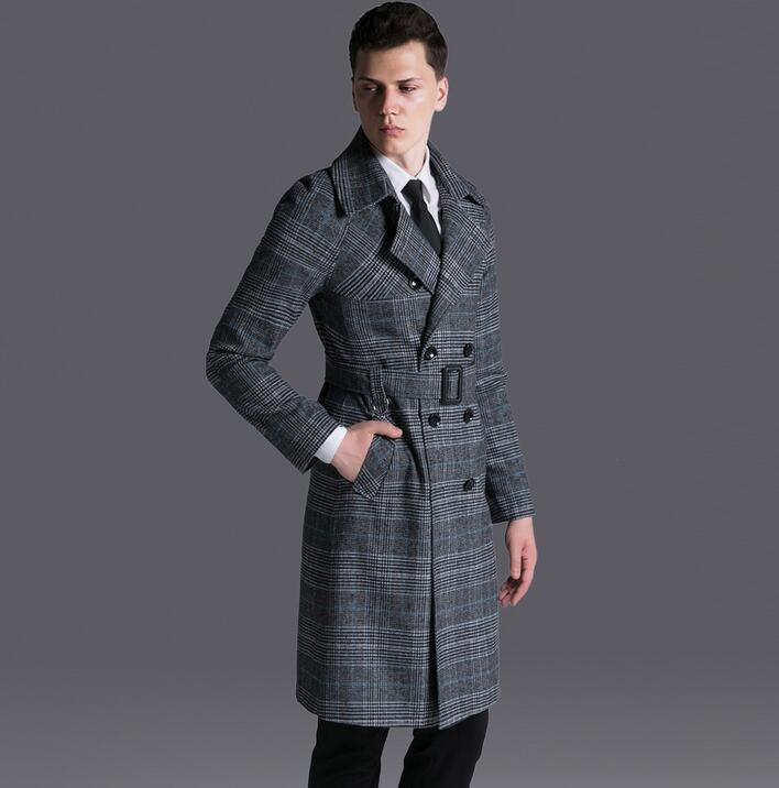Vintage plaid trench coat mens medium-long coats 2017 spring and autumn casual long sleeve double breasted outerwear plus size