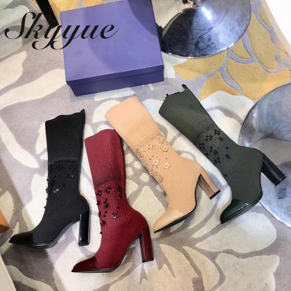 SKYYUE Sexy Pointed Toe Knitted Mid Calf Autumn Winter Boots Stretch Fabric Slip On Chunky Heel Women Boots Brand Shoes Women laconic women s mid calf boots with lace up and chunky heel design