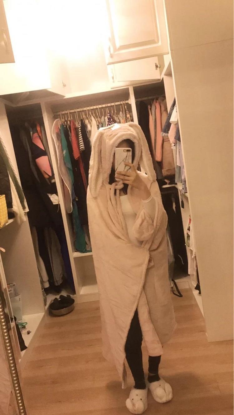 Cute Pink Comfy Blanket Sweatshirt Winter Warm Adults and Children Rabbit Ear Hooded Fleece Blanket Sleepwear Huge Bed Blankets 99