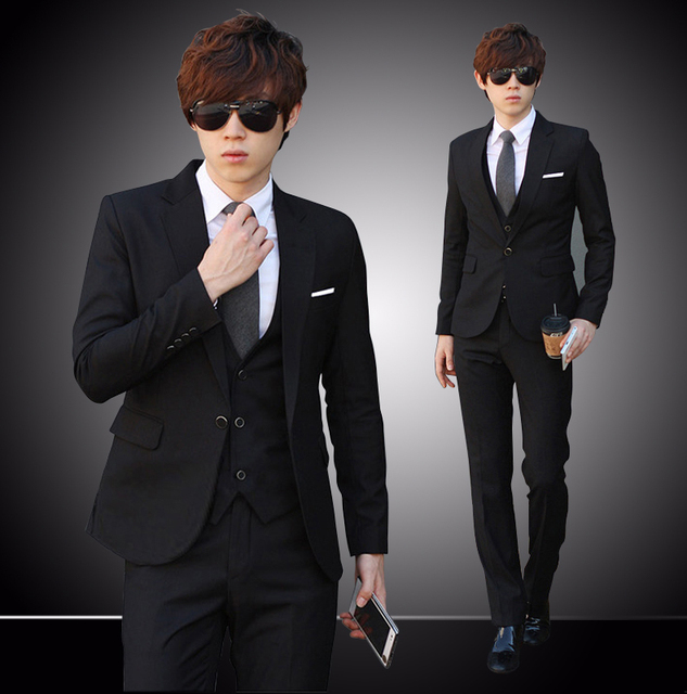 2014 Korea Satin Black Brim Man Groom Tuxedos Wedding Suits Prom ...