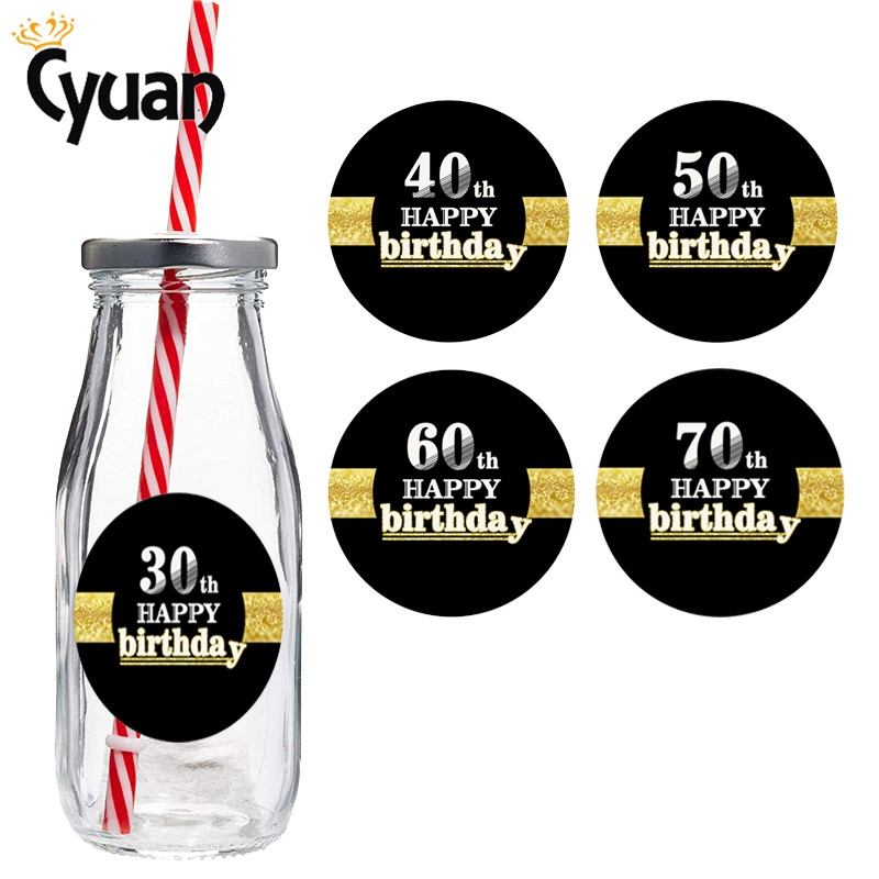 30th 40th 50th 60th <font><b>70th</b></font> Happy <font><b>Birthday</b></font> Tags Labels Adhesive Kraft Seal Sticker 30 Years <font><b>Birthday</b></font> Party Decors Adult image