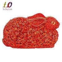 Rojo Conejo Encantador Animal Bolso de Noche Nupcial de Lujo Marca tachonado Diamante Prom Monedero Del Bolso de Embrague Cristalino Hecho A Mano para el Partido 88175