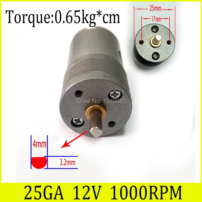 NEW 25GA 25mm 12V 1000RPM DC motor powerful high torque gear box motor gearmotors 1000rpm 12v dc free shipping