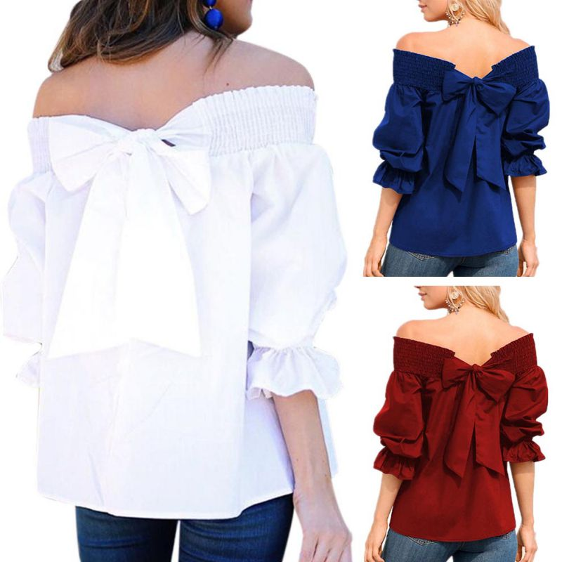 HTB1eelnKXmWBuNjSspdq6zugXXaQ - Sexy Off Shoulder Bowknot Blouse Spring Summer Strapless Women Tops Slash Neck Shirts Casual Loose Blusas Plus Size