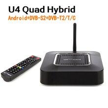[Véritable] U4 Quad Hybride Android TV Box DVB-S2 + DVB-T2/T/C Satellite Câble Terrestre Combo boîte Hisilicon Hi3796M KODI Tvheadend