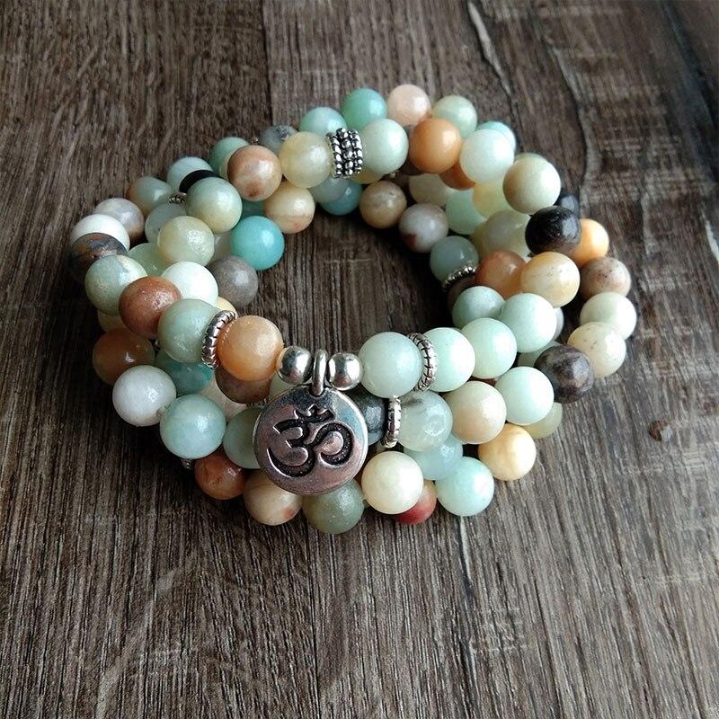 Donne di modo Amazonite 108 Beads Mala Meditazione Braccialetto Braccialetto O Una Collana Lotus Fascino Nuovo Disegno Yogi Reiki