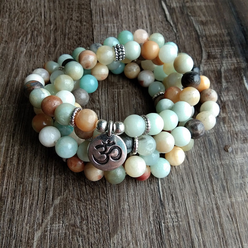 Mode Frauen Amazonit 108 Mala Perlen Meditation Armband Oder Halskette Lotus Charme Neue Design Reiki Yogi Armband