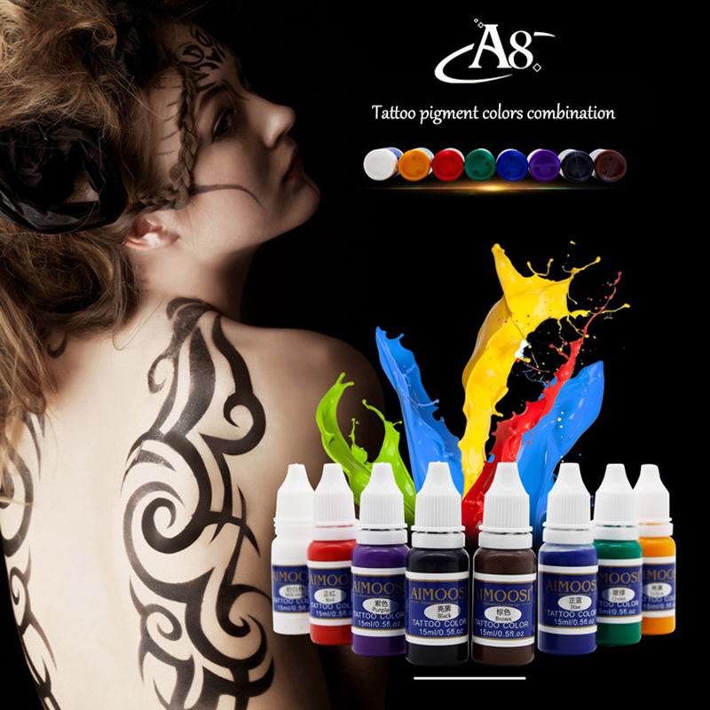 AIMOOSI Tattoo Body Ink Set Microblading Pigments For Tattooing Paint permanent makeup pigments Kit Cosmetics Supply 7 colors permanent eyebrow lipstick microblading pigments paints ink for lip tattooing 15ml 1 2 oz