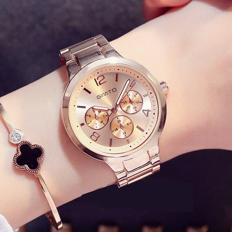 Prix pour GIMTO De Luxe Marque De Mode Quartz Montre Femmes Dames En Acier Inoxydable Bracelet Montres Casual Horloge Femelle Robe Relogio 2017