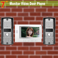 "7"" color video door phone intercom Kits video doorbell for Home Villa 2 Camera 1 Monitor"