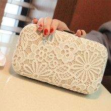 New Women Fashion Wedding Bride Lace Day Clutch Bag Party Dinner Evening Bags White Elegant Bridesmaid Day Clutch Purse