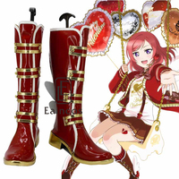Anime Love Live! Rin Hoshizora san valentino Al Cioccolato Stivali Rossi del Partito di Cosplay Scarpe Su misura