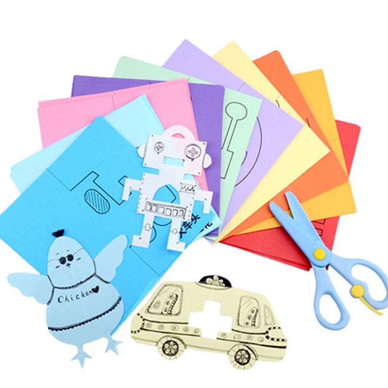 120 Vellen Diy Kleuterschool Kids Gift Handgemaakte Papieren Boek Speelgoed Papier Snijden + Plastic Veilig Schaar Foto Schilderkunst Speelgoed