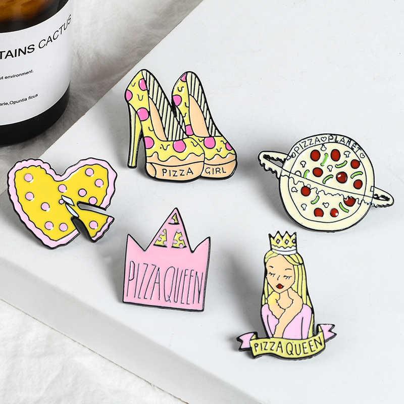 Pizza fiaba Dello Smalto Spilli Del Fumetto Pizza Queen Corona di Alta tacchi Pianeta Cuore Spilli Distintivo Rosa Dolce Spille Regalo Per I Bambini della ragazza