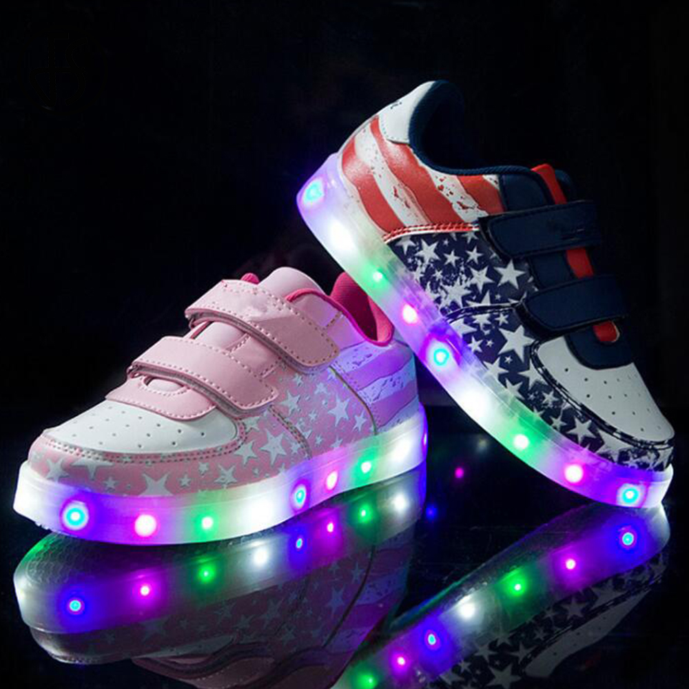 FS Sneakers Skateboarding-Shoes Light-Up Glowing Girls Boys Kids Children Flag American