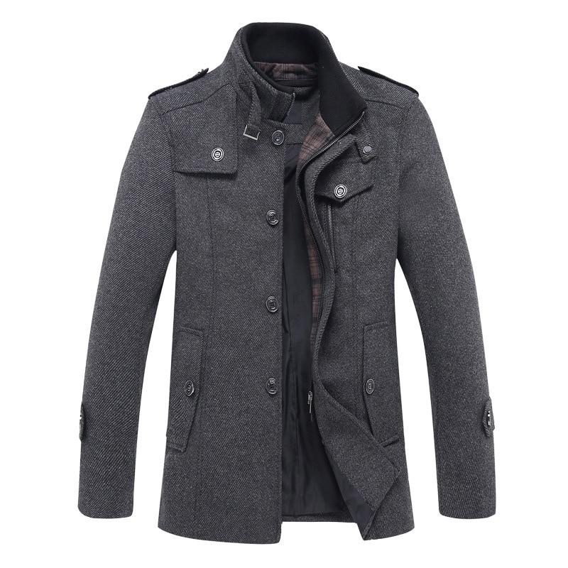 Autumn new fashion woolen winter coat men's long woolen coat middle aged collar windbreaker
