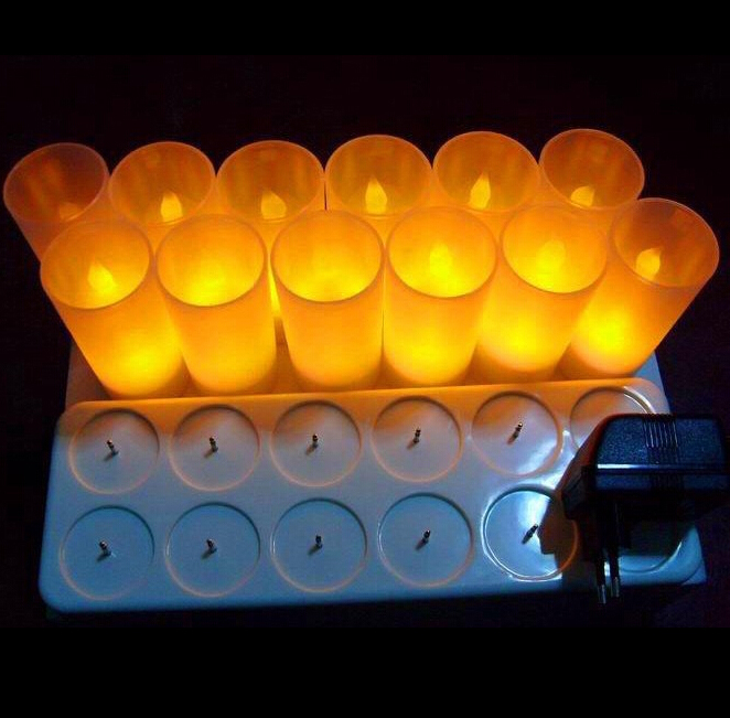 Novelty 12 Cups Rechargeable Battery LED candles night light indoor lighting electronic candle table lamps Christmas holiday стоимость