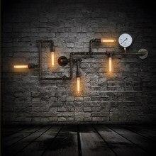 Loft przemysłowe żelaza Wodociąg Kinkiet American Vintage wodomierz kinkiety ścienne Oprawy Oświetleniowe Edison Żarówka dla Kawiarnia