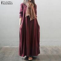 Oversized 2016 Autumn ZANZEA Women Vintage Long Maxi Dress Long Sleeve Casual Loose Solid Elegant Ankle