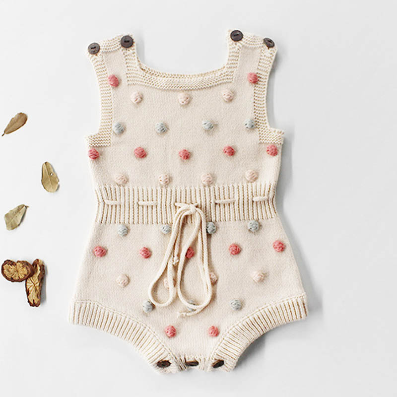 Baby Bodysuits Autumn New Baby Boys Clothes Sweater Handmade Hair Ball Toddler Girls Bodysuits Knit Bodysuits Baby Girl Clothes