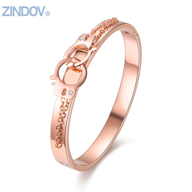 Rose Gold Jewelry Stainless Steel Women Cuff Bangles Bracelets