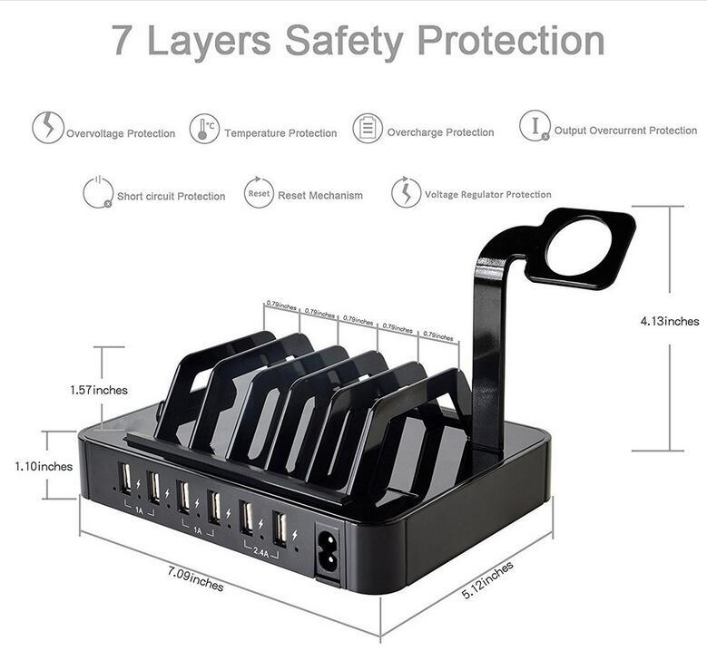 6 θύρες USB Charging Station Dock HUB Charger Organizer - Ανταλλακτικά και αξεσουάρ κινητών τηλεφώνων - Φωτογραφία 5