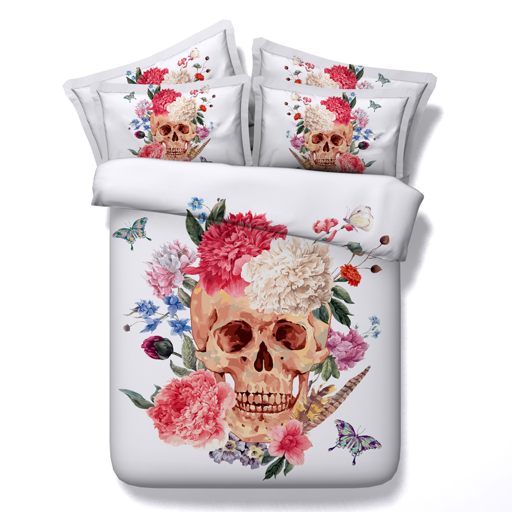 Butterfly Skull Flower 3D Printed Comforter Bedding Twin Full Queen Super Cal King Size Bed Sheets Duvet Covers Set Adult Home