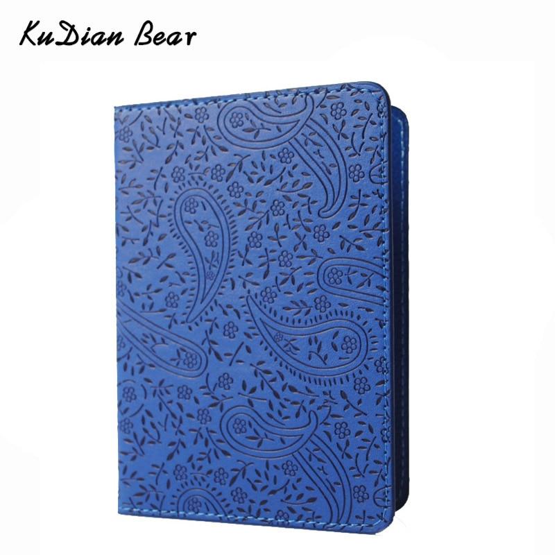 KUDIAN BEAR Paspoort Cover van hoge kwaliteit Lavendel Waterproof PU lederen reispaspoorthouder voor document - BIY001 PM15