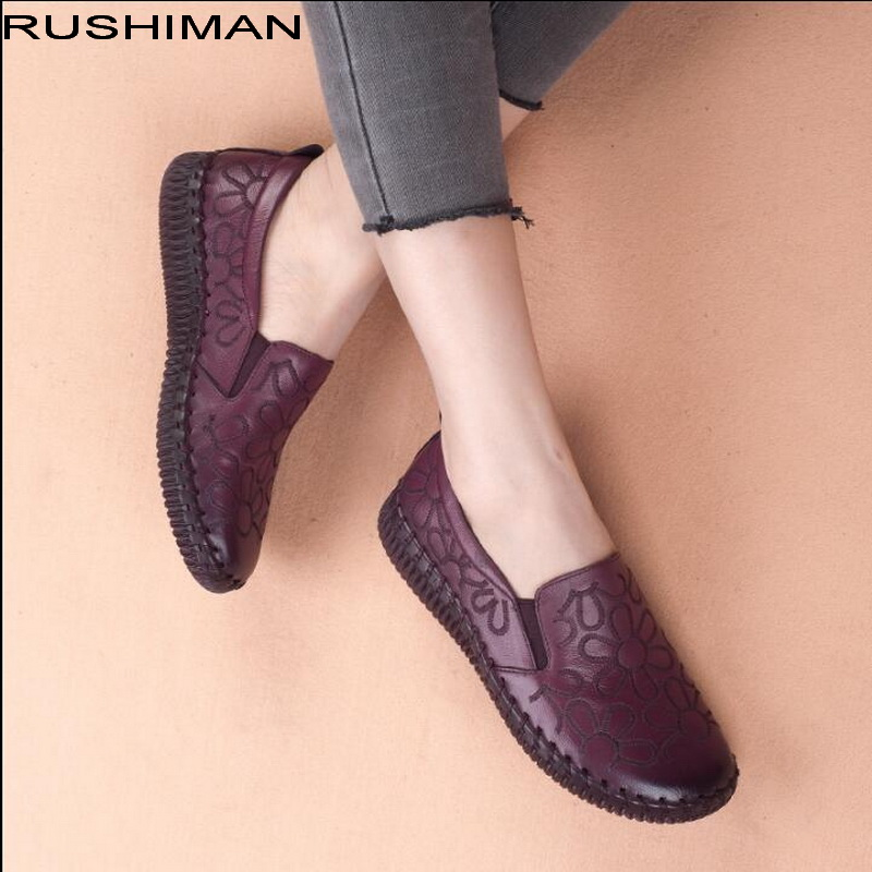 Fashion Genuine Leather Flat Shoes Women Loafers Flats Ballerina Shoes Woman Handmade Shoes Pregnant Flats Casual Driving Shoes