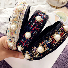 Women Retro Colorful hair band head buckle pearl zircon hair accessories hairband flower crown headband for girl hair bows tiara(China)