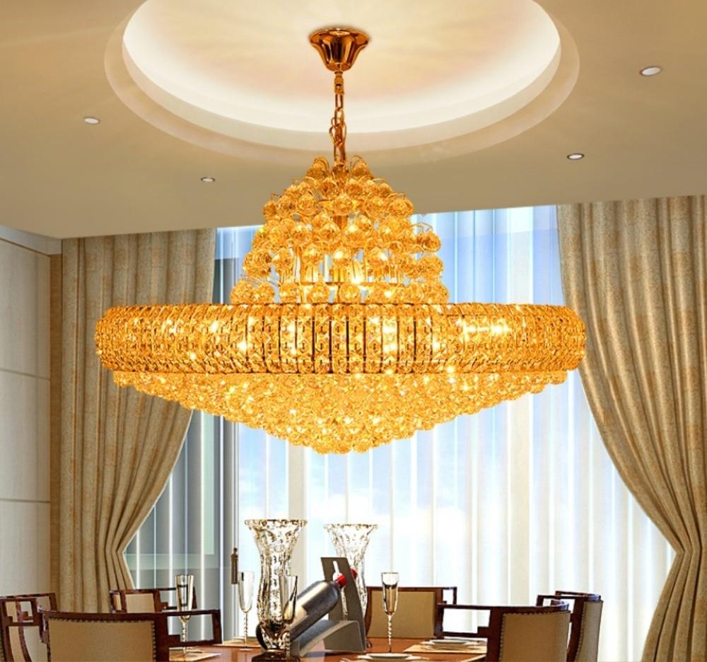 LED Moderne Gouden K9 Kristallen Kroonluchter Grote Ronde Gouden - Binnenverlichting - Foto 6