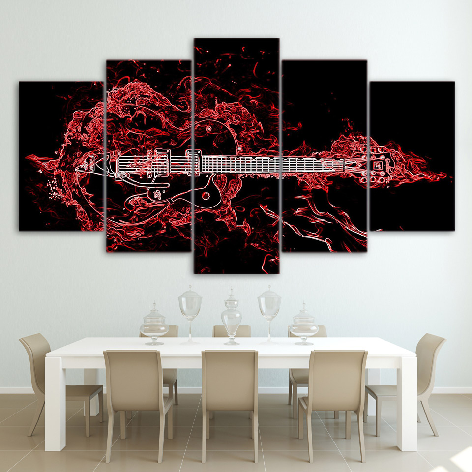 online get cheap paintings guitars aliexpress com alibaba group wall art pictures home decor for living room frame canvas hd printed posters 5 pieces abstract