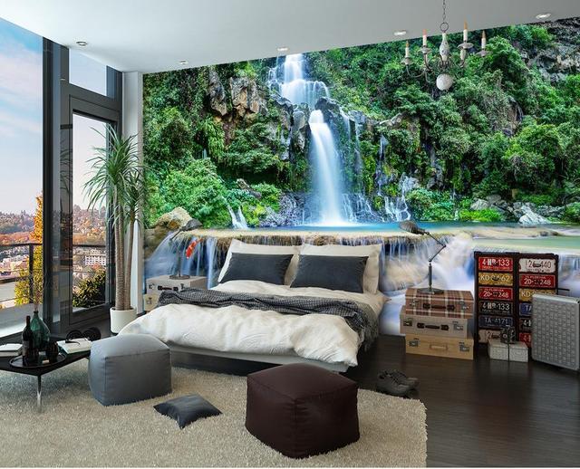 Decorazioni Per Casa Montagna : 3d bagno carta da parati montagna cascata acqua 3d murale paesaggio