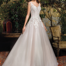 Loverxu V-Neck Wedding Dress Sweep Train Bride Dress