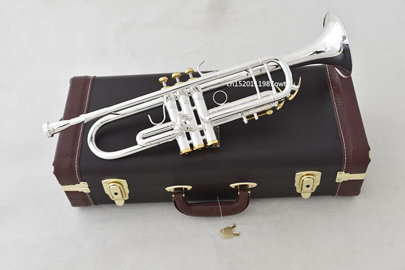Trumpet NEW Original Silver-plated body gold key LT190S-85 B flat professional trumpet bell Top musical instruments Brass trumpet new bach silver plated body gold key lt190s 85 b flat professional trumpet bell top musical instruments brass