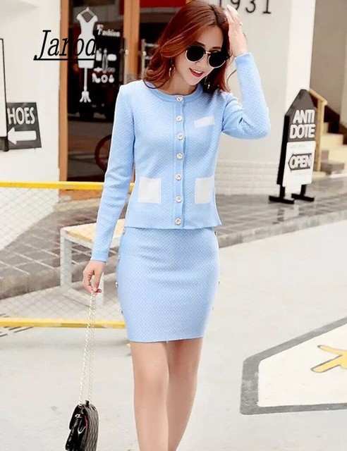 2017 Office Ladies Elegant Knit Cardigans + Step Skirt Suits Short Slim plaid Sweater Tops and Mini Skirts Sets