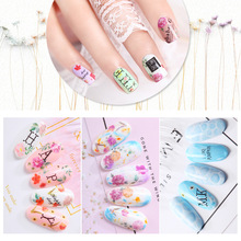цена на 3D Nail Sticker DIY Water Transfer Nails Art Sticker Colorful Purple Fantacy Flowers Nail Stickers Wraps Foil Sticker manicure