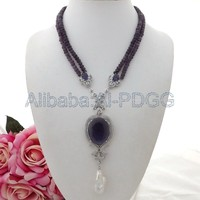 18''2Strands Rondelle Crystal Necklace White Keshi Pearl