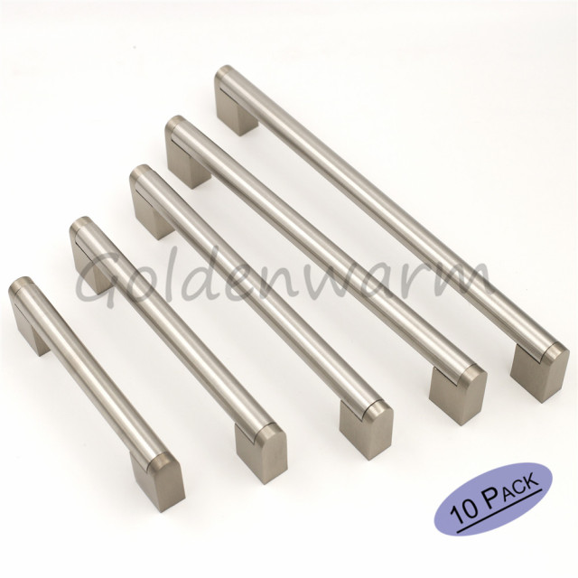 exporter brushed pulls nickel cabinet