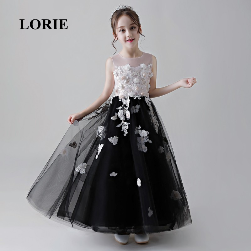 LORIE   Flower     Girl     Dresses   2019 O-Neck A Line Decorated with   Flowers     Girl   Party   Dresses   for   Girl   Pageant Free Shipping