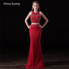 13ef4278a38 Gorgeous Beadings Sleeveless Long red Two Pieces Prom Dress 2018 Chiffon  Party Evening Gowns Robe De Soiree Custom made