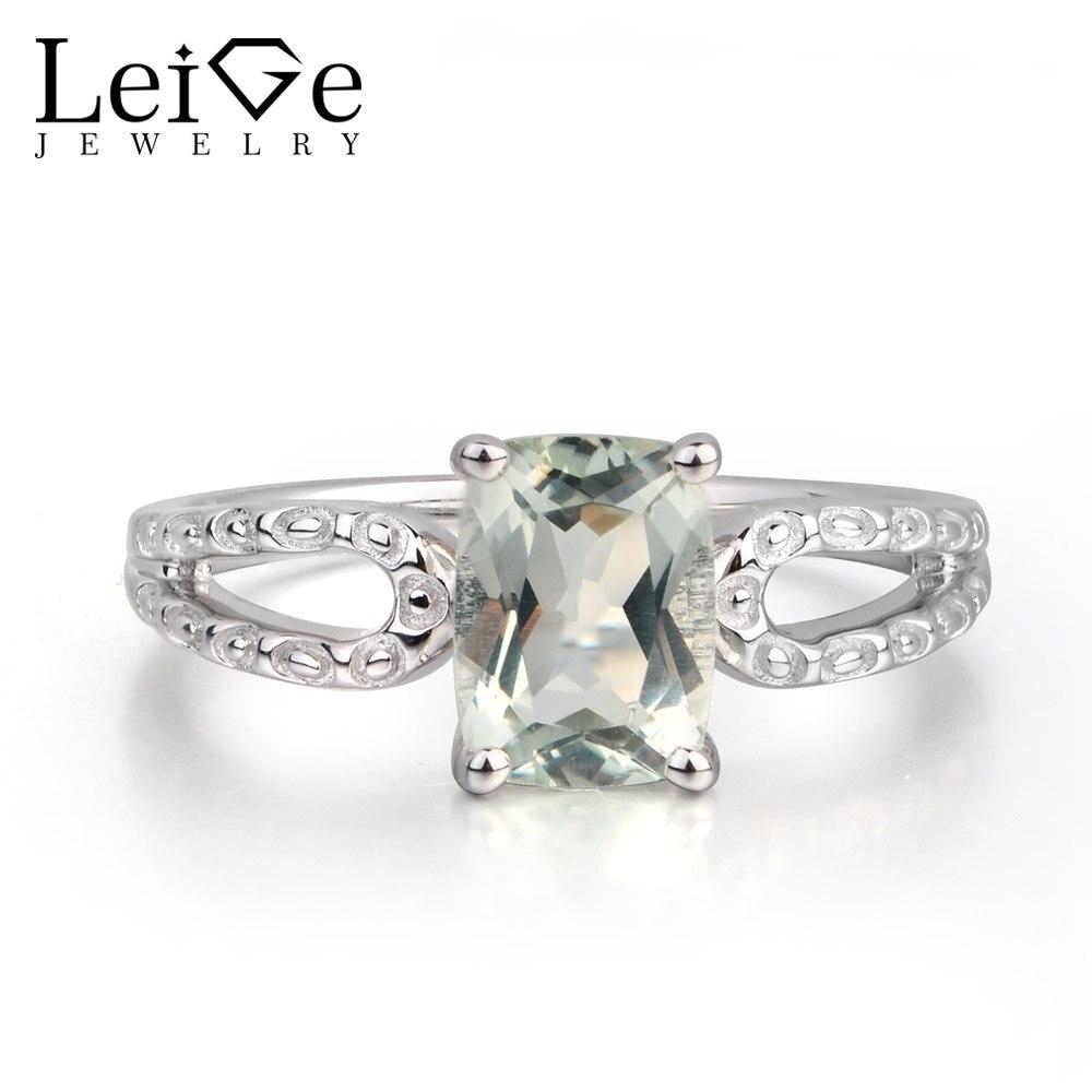 Leige bijoux naturel vert améthyste coussin coupe fête romantique anneaux de mariage bandes pour femme 925 argent Sterling