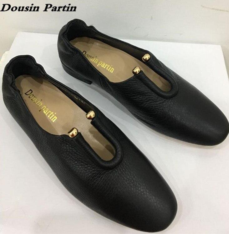 Dousin partin 뜨거운 판매 검은 가죽 여성 플랫 슬립 부드러운 가죽 품질 여성 신발 레이디 신발 n 52412563-에서여성용 플랫부터 신발 의  그룹 1