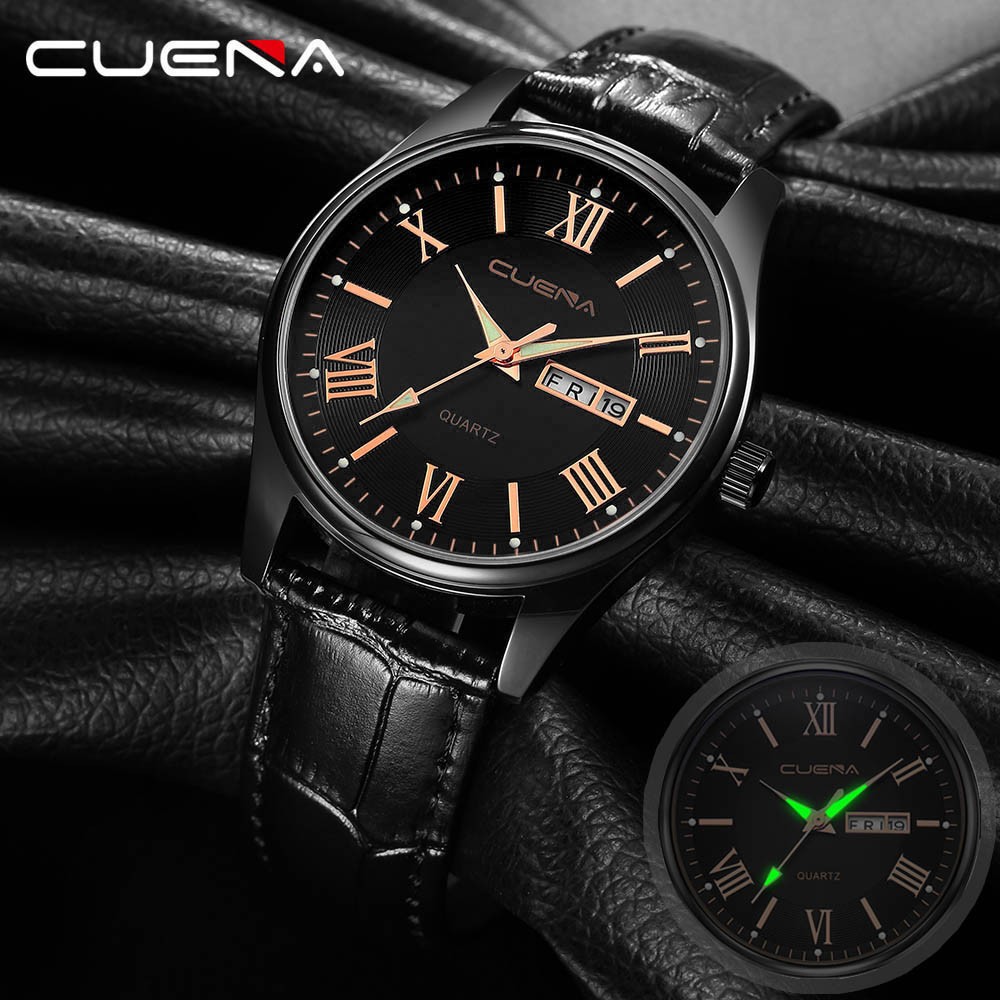 CUENA Mens Wrist Watches Military Leather Analog Army Casual Dress Watch For Man Quartz Watch Men Day Date Male Clock