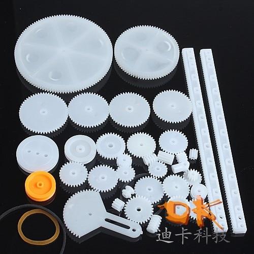 34 Pc RC Parts Lot, Plastic Gears, Pulley, Belt, Rack, DIY Robots & Cars, 8-56 Teeth
