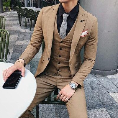 2019 Men Suits for Wedding 3 Pieces Latest Coat Design Slim Mens Suits with Pants Vest Formal Tuxedo Khaki Ternos Costume Homme