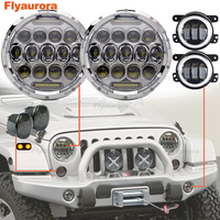 Set For 07 18 Jeep Wrangler JK JKU 7 Headlight DRL 75W + 4 Inch LED Fog Lamp Amber White Halo Turn Signal RED Devil Eyes