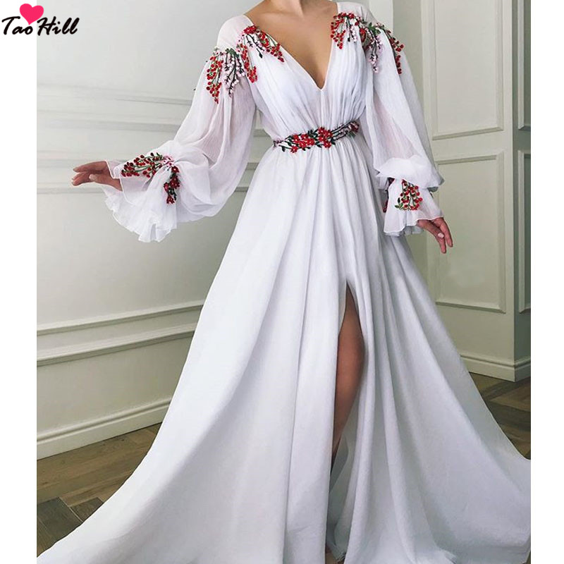 TaoHill Special Occasion Evening Dresses White Chiffon V neck Floor Length Ruffled A Line Long Sleeves Formal Dress